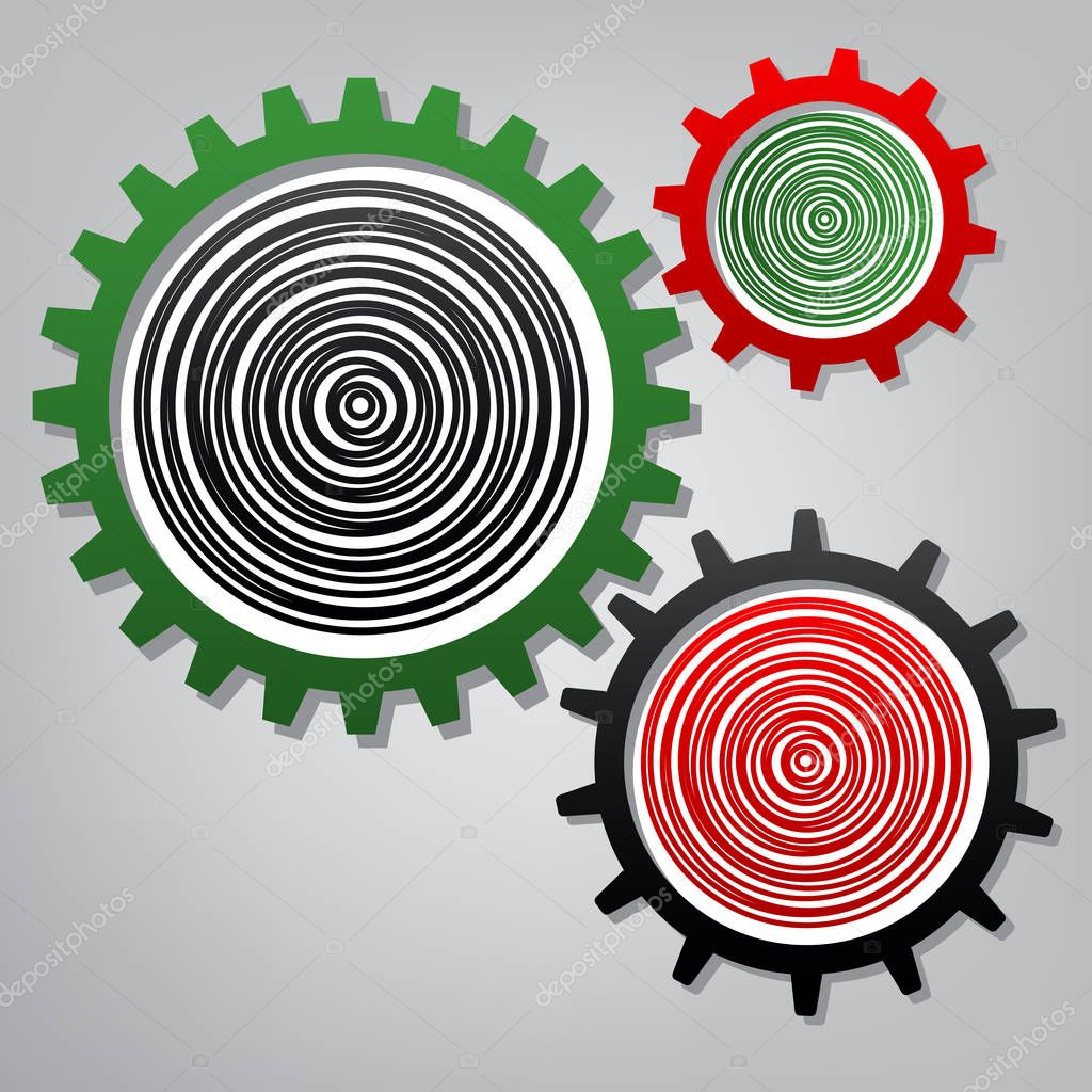 Wood cross section. Vector. Three connected gears with icons at