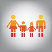 Fotografie Familie Schild. Vektor. Horizontal geschnitten Symbol mit Farben aus sonnigen Farbverlauf in grauen Hintergrund.