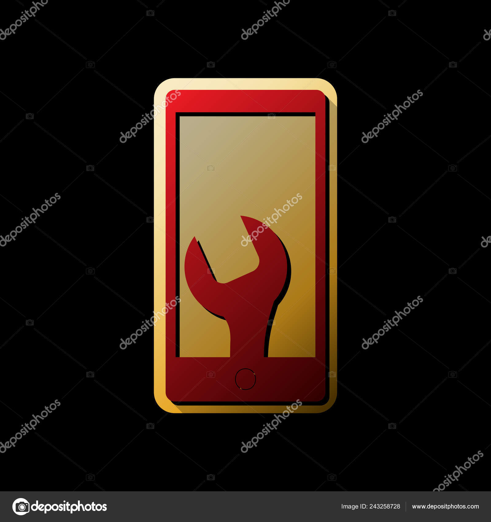 Phone Icon Settings Vector Red Icon Small Black Limitless Shadows Stock Vector C Asmati1702 Gmail Com 243258728