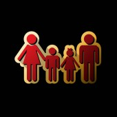 Fotografie Familie Schild. Vektor. Rotes Symbol mit kleinen schwarzen und grenzenlos Schatten am goldenen Aufkleber auf schwarzen Hintergrund.