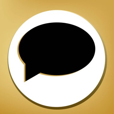 Speech bubble icon. Vector. Black icon with light brown shadow in white circle with shaped ring at golden background.