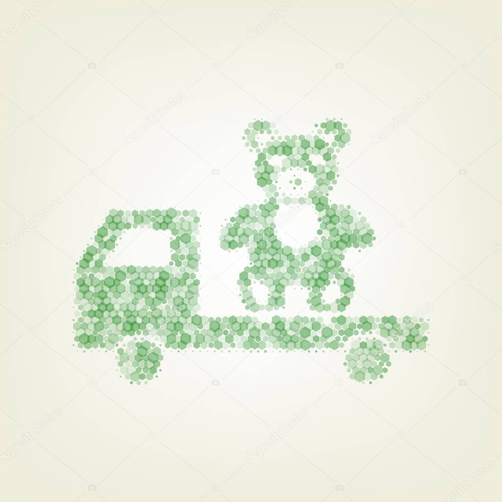 Truck with bear. Vector. Green hexagon rastered icon and noised opacity and size at light green background with central light.