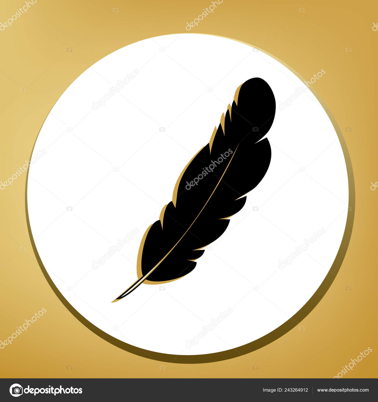da4765946 Feather sign illustration. Vector. Black icon with light brown shadow in  white circle with shaped ring at golden background.