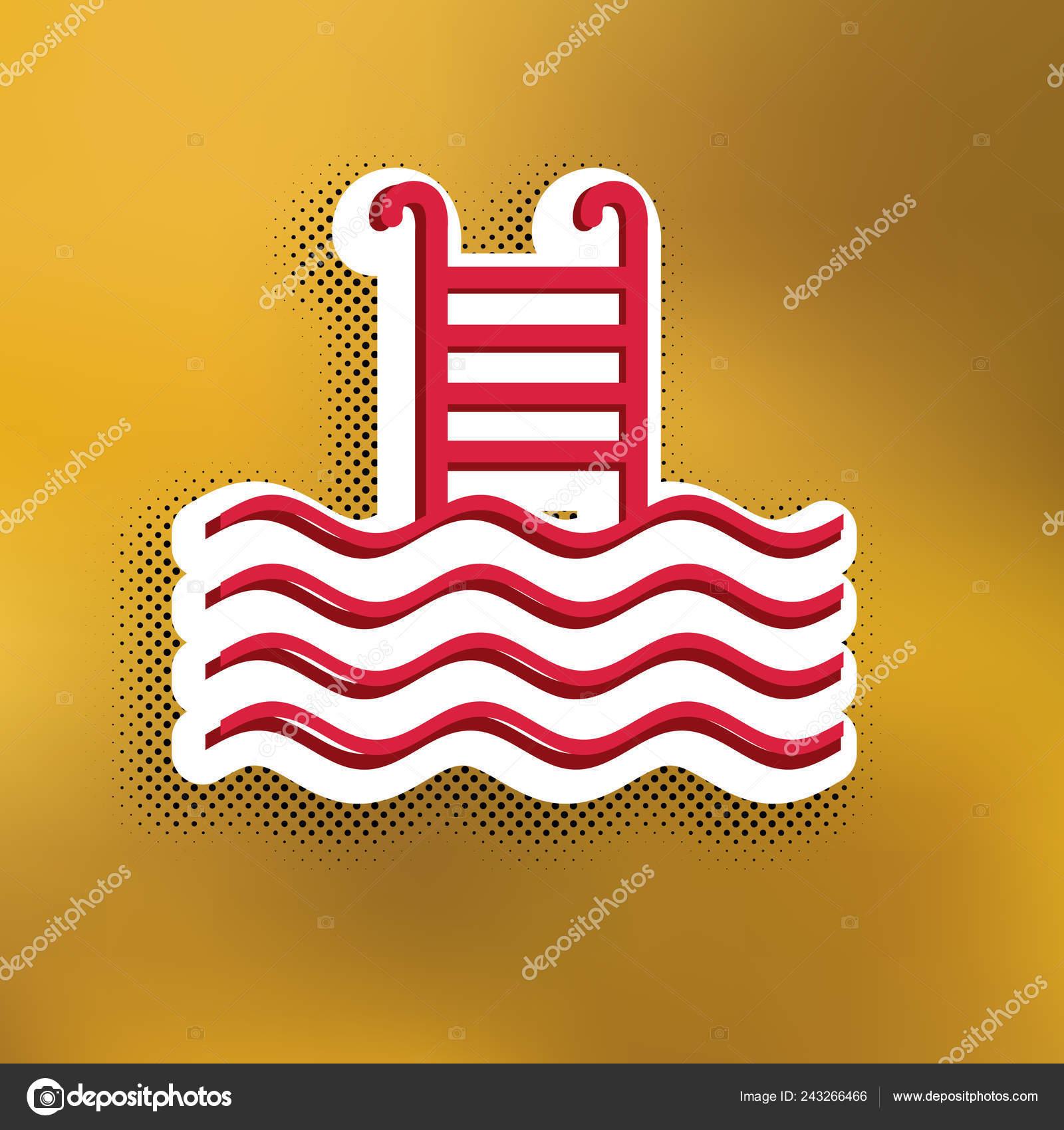 Swimming Pool Sign Vector Magenta Icon Darker Shadow White Sticker