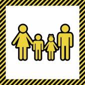 Fotografie Familienzeichen. Vektor. warmgelbes Symbol mit schwarzer Kontur im Rahmen, der auf weißem Hintergrund als im Bau befindlich bezeichnet wird. isoliert.