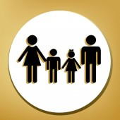 Fotografie Familie Schild. Vektor. Schwarze Symbol mit leichten braunen Schatten im weißen Kreis mit geformten Ring auf goldenem Hintergrund.