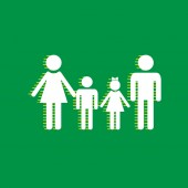 Fotografie Familie Schild. Vektor. Weiße flache Symbol mit gelb gestreifte Schatten auf grünem Hintergrund.