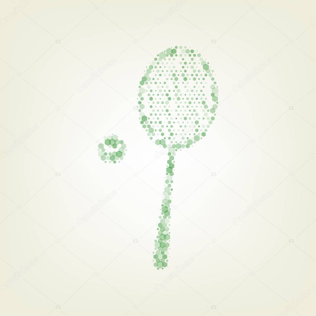 Tennis racquet with ball sign. Vector. Green hexagon rastered icon and noised opacity and size at light green background with central light.