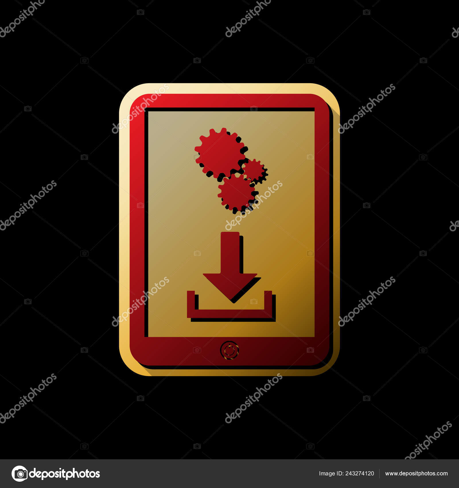 Phone Icon Settings Symbol Vector Red Icon Small Black Limitless Stock Vector C Asmati1702 Gmail Com 243274120