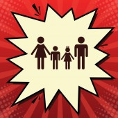 Fotografie Familienzeichen. Vektor. dunkelrotes Symbol in Zitronen-Chiffon-Verschlussblase auf rotem Popart-Hintergrund mit Strahlen.