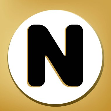 Letter N sign design template element. Vector. Black icon with light brown shadow in white circle with shaped ring at golden background.