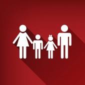 Fotografie Familie Schild. Vektor. Weißes Symbol mit grenzenlosen Schatten bei Ruby roten Hintergrund.