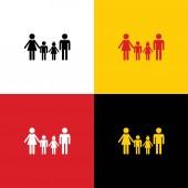 Fotografie Familie Schild. Vektor. Ikonen der deutschen Flagge auf entsprechenden Farben als Hintergrund.