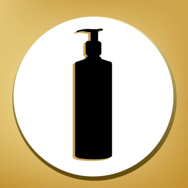 Gel, Foam Or Liquid Soap. Dispenser Pump Plastic Bottle silhouette. Vector. Black icon with light brown shadow in white circle with shaped ring at golden background.
