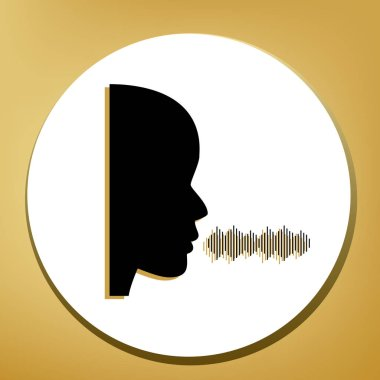 People speaking or singing sign. Vector. Black icon with light brown shadow in white circle with shaped ring at golden background.