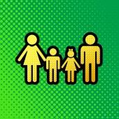 Fotografie Familie Schild. Vektor. Pop Art orange bis gelbe Punkte-Gradient-Symbol mit schwarzen Kontur an grünlichen Hintergrund.