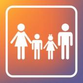 Fotografie Familienzeichen. Vektor. weißes Symbol auf transparentem Knopf auf orange-violettem Hintergrund.