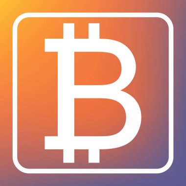 Bitcoin sign. Vector. White icon on transparent button at orange-violet gradient background.