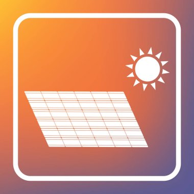 Solar energy panel. Eco trend concept sign. Vector. White icon on transparent button at orange-violet gradient background.