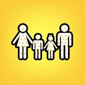 Fotografie Familie Schild. Vektor. Gelben Tupfen weißen Symbol mit schwarzen cont