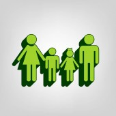 Fotografie Familienzeichen. Vektor. gelb-grünes einheitliches Symbol mit dunkelgrünem externen Körper auf hellem Hintergrund.