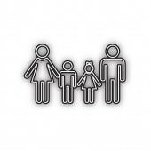 Fotografie Familienschild. Vektor. Doppelte Kontur schwarzes Symbol mit weichem Schatten auf weißem Hintergrund. abgeschnitten.