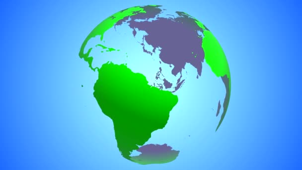 The Earth globe is green with transparent oceans and entrails rotating around its axis in the center of the frame on a color gradient background. The rotation is looped.
