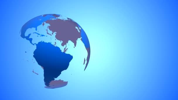 A világon a föld kék átlátszó óceánok és zsigerek bal oldalán a keret, a színes gradiens háttér a tengelye körül forog. A forgatás végtelenített.