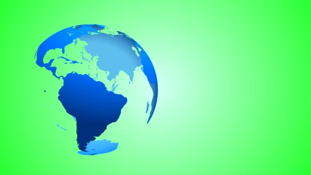 The globe of the Earth blue with transparent oceans and entrails rotates around its axis in the left part of the frame on a green gradient background. The rotation is looped.