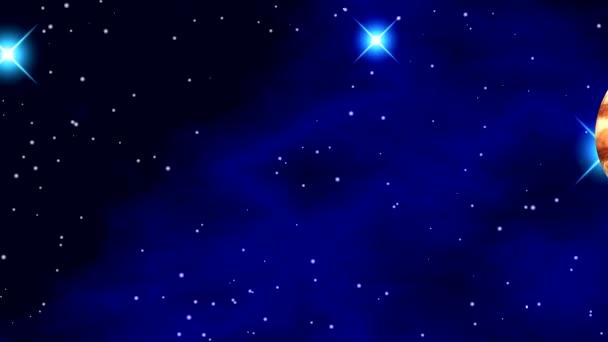 Prostor s jasné blikající hvězdy a barevné mlhoviny na černém pozadí s planetami, měsíci, otáčivé kolem osy. Kosmická loď letí vodorovně