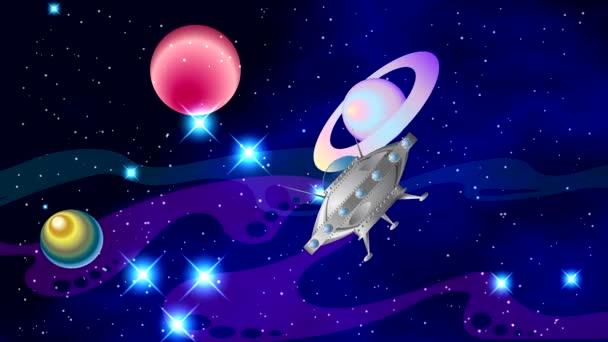 Prostor s jasné blikající hvězdy a barevné mlhoviny na černém pozadí s planetami, měsíci, otáčivé kolem osy. UFO letí a se odehrává v prostoru