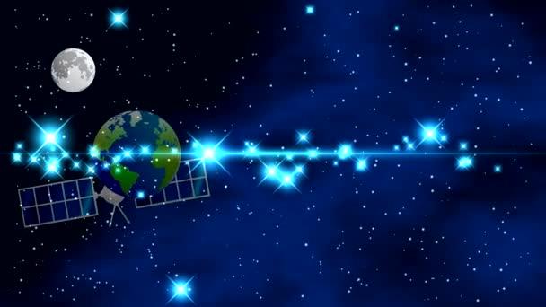 Prostor s jasné blikající hvězdy a barevné mlhoviny na černém pozadí s planetami, měsíci, otáčivé kolem osy. Umělý satelit země letí vodorovně