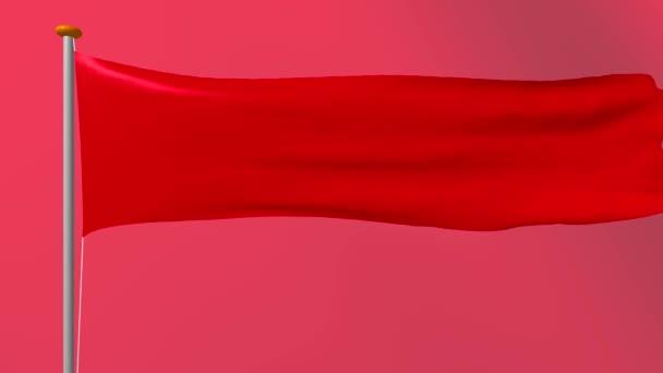 Nem szabványos formában, hosszúkás vörös zászlaja alakul ki a szél. 4k a 3D-s program videó renderelés.