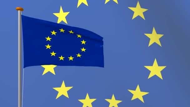 Vlajka Evropské unie vyvíjí ve větru na pozadí žlutými hvězdami. Vykreslování 4k videa z 3d programu.