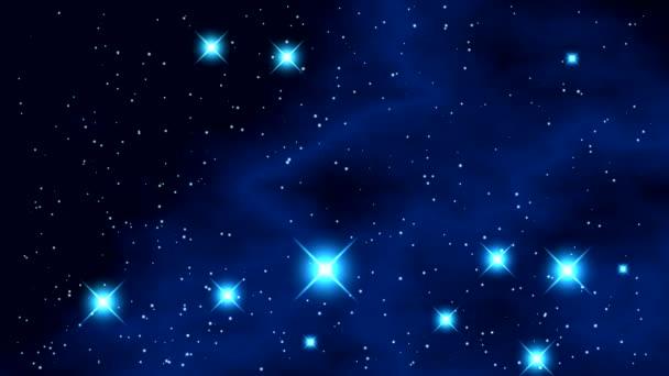 Prostor s jasné blikající hvězdy a modrá mlhovina s černým pozadím