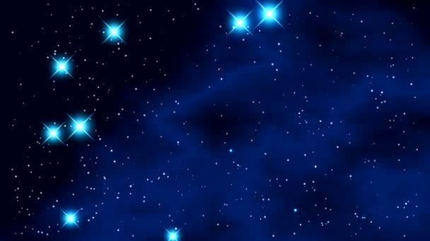 Prostor s jasné blikající hvězdy a modrá mlhovina na černém pozadí a záblesky na konci videa