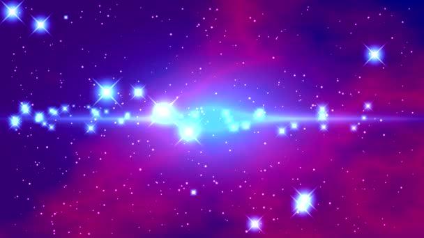 Prostor s jasné blikající hvězdy a modré fialové mlhoviny na černém pozadí s světlé pásmo v centru a záblesky uprostřed videa