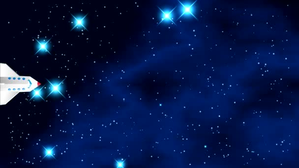 Prostor s jasné blikající hvězdy a modrá mlhovina s černým pozadím. Raketoplán letí vodorovně středem rámu