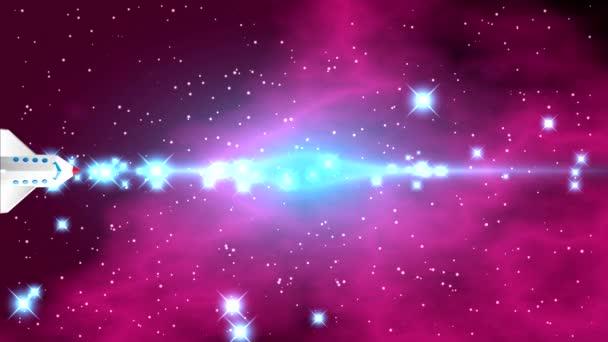 Prostor s jasné hvězdy a modré fialové mlhoviny na černém pozadí s světlé pásmo v centru a záblesky uprostřed videa. Raketoplán letí vodorovně