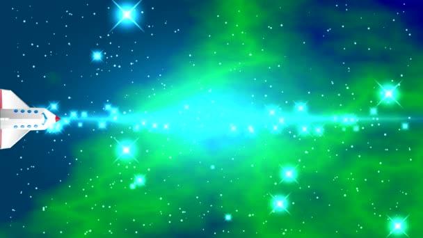 Prostor s jasné hvězdy a mlhoviny modro zelená na černém pozadí s světlé pásmo v centru a záblesky uprostřed videa. Raketoplán letí vodorovně