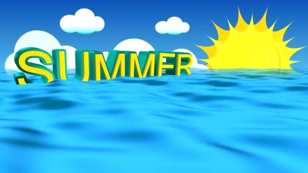 Letní slovo reklama houpe na vlnách modrého moře proti obloze s kupovité mraky a rotující slunce s dlouhé paprsky. Volné místo pro další text.