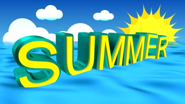 The advertising word summer pops up from the depths and sways on the waves of the blue sea against the sky with cumulus clouds and a rotating sun with long rays.