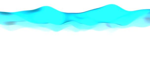 abstrakte Farbband-Welle in der Mitte des Bildschirms schwingt horizontal sanft auf weißem Hintergrund. Encodierung aus einem 3D-Programm mit maximaler Qualität.