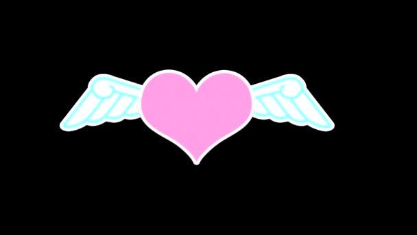 Looping-Animation eines rosafarbenen Herzens mit weißen Flügeln mit einem Alphakanal in Form einer schwarz-weißen Helligkeitsmaske, um den Hintergrund beim Bearbeiten von Videos auszuschneiden.