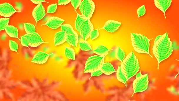 Abstract video with falling horizontally colorful leaves on a blurred gradient red and yellow background. Hand-drawn 2D animation of high quality 4K.