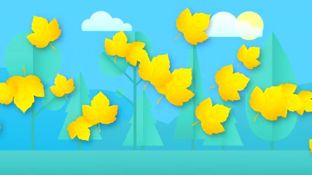 Abstract video with falling horizontally colorful leaves on a nature background with clouds and sun. Hand-drawn 2D animation in high quality 4K.