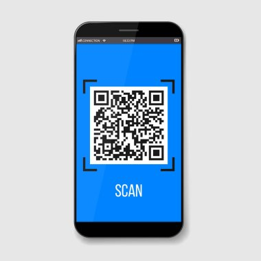 Creative vector illustration of phone mobile QR codes, packaging labels, bar code on stickers. Identification product scan data in shop. Art design. Abstract concept graphic element