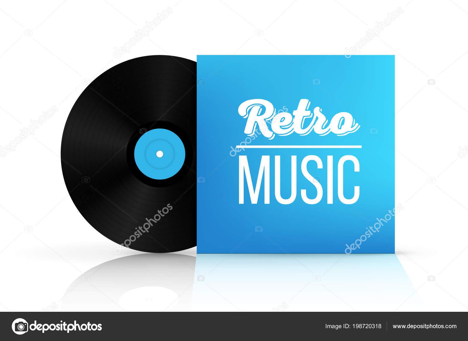 Creative vector illustration realistic vinyl record disk paper case art design blank lp music cover mockup template concept graphic disco party element maxwellsz