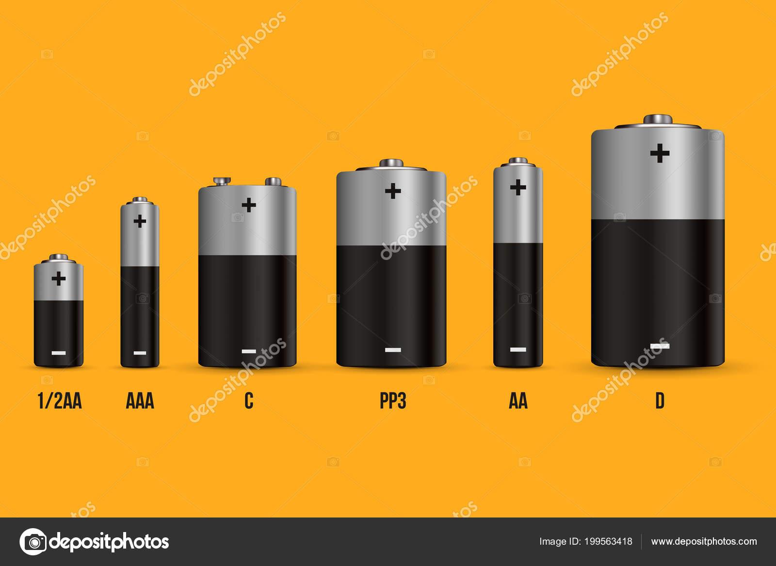Creative Vector Illustration Realistic Alkaline Battery Set Diffrent Size Isolated Stock Vector C Mikhail Grachikov 199563418