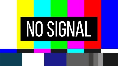 Creative vector illustration of no signal TV test pattern background. Television screen error. SMPTE color bars technical problems. Art design. Abstract concept graphic element.